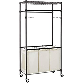Amazon Com 3 Compartment Laundry Sorter Hamper Heavy Duty Clothes Rack Hanging