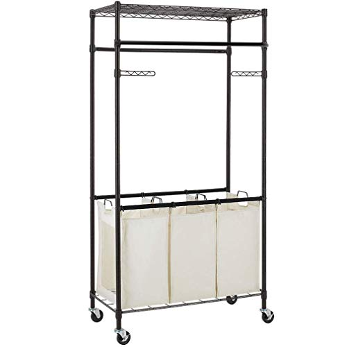 3 Compartment Laundry Sorter Hamper Heavy Duty Clothes Rack Hanging Rolling Laundry Cart with Wheels Rod Garment Rack Double Metal Height Adjustable Shelves Commercial Grade for Laundry room,Bronze