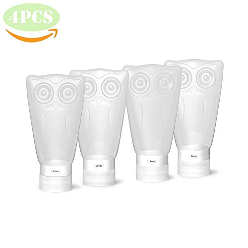 fa307d356417 VelPal Travel Silicone Bottles, Travel Kit, Leak Proof, BPA Free, TSA  Approved, Set of 4 PCS with Clear Toiletry bag, 3 fl oz/83ml Owl Container  for ...