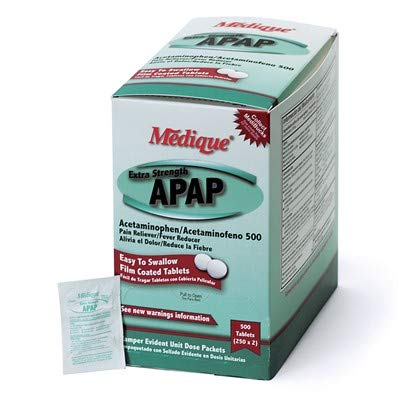 Medique Extra Strength APAP Acetaminophen Pain & Fever Relief Tablets, 500/Box (250/2's) (5 Boxes)