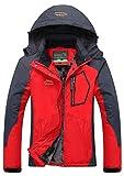 YXP Women's Mountain Waterproof Ski Jacket Windproof Rain Jacket(Oriental Red,M)