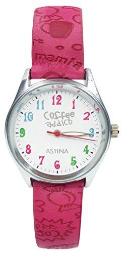 Kids Quartz Wrist Watch Teen Girls Boys PU Leather Strap Watch Red