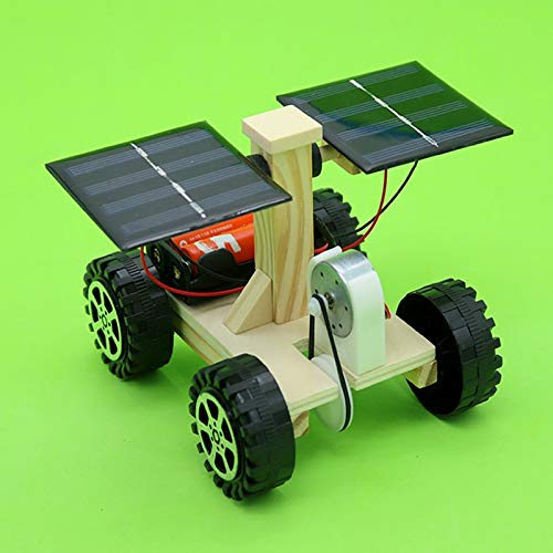 UltaPlay - Wooden Lunar Rover Model Students DIY Science Materials Kits Solar Battery Hybrid Car Kids Fun Science Experiments Toy[]