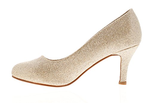 Platino Glinda Womens Heels Court Shoes Gold - Gold - UK Sizes 3-8 OJFFMbb
