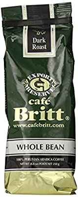 Cafe Britt Peru Dark Roast Whole Bean, 8.8 Ounce