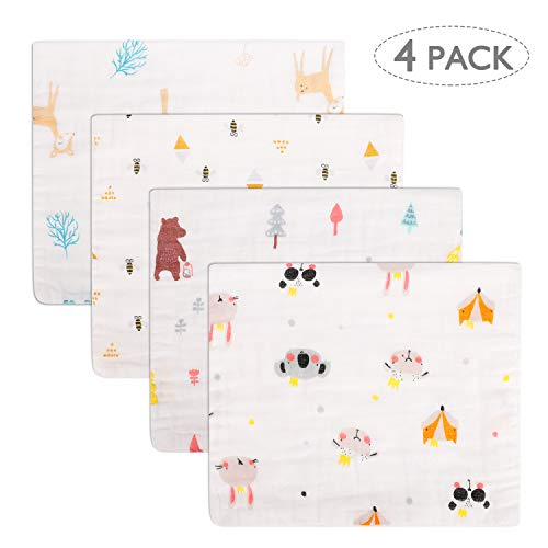 Accmor 4 Pack Burp Cloths, Muslin Burp Cloths, 100% Cotton 6 Layers Extra Absorbent and Soft Large Hand Wash Burp Cloths