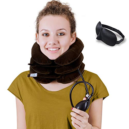 (DaviSMART Neck Traction ✮ Effective Neck Pain Remedy at Home ✮ Inflatable & Adjustable Cervical Stretcher (Brown))
