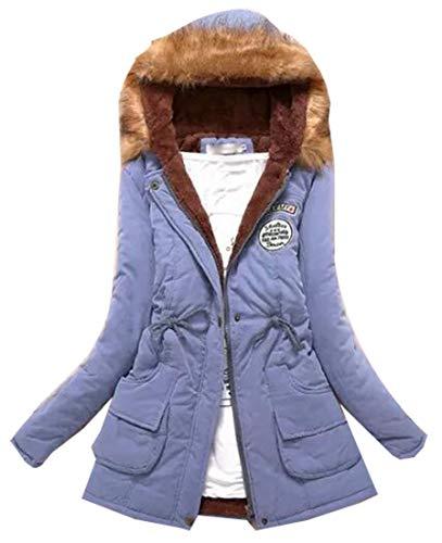 with Fur Trim Faux Classic Winter Jacket Women's Light Jacket Blue Hood Puffer EKU Coat Down g0nzcHq