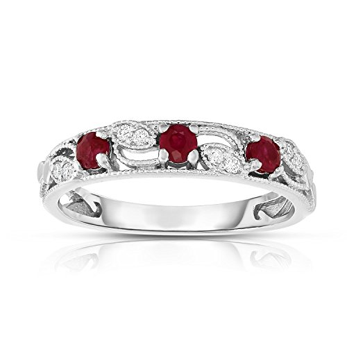 Noray Designs 14K White Gold Ruby & Diamond (0.06 Ct, G-H, SI2-I1 Clarity) Stackable Ring by Noray Designs