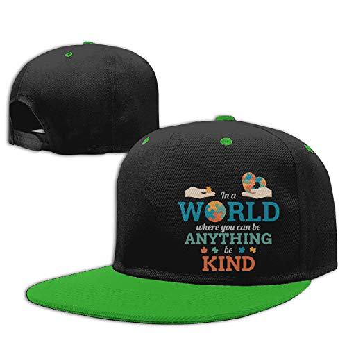 in A World Anything Be Kind Puzzle Autism Awareness Hip Hop Baseball Cap, Unisex Solid Flat Bill Adjustable Snapback Hats Green