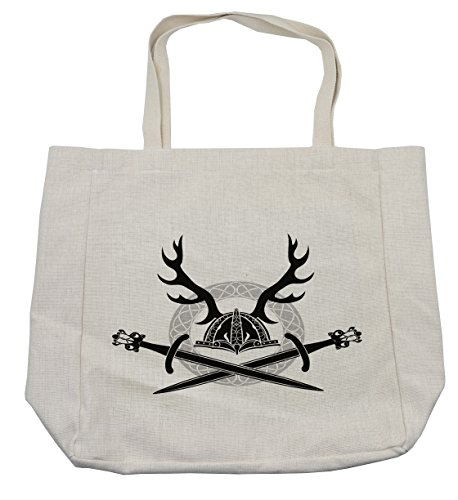 Lunarable Antler Shopping Bag, Hat with Deer Antlers Viking Culture Celtic Circle Medieval Barbarian Theme, Eco-Friendly Reusable Bag for Groceries Beach Travel School & More, (Female Barbarian Costume Ideas)