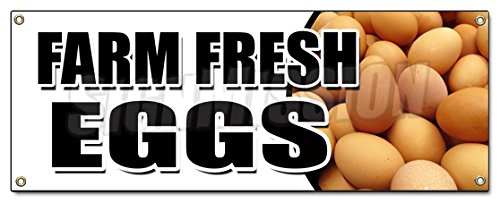 Farm Fresh Eggs Banner Sign Organic Range Free Milk Dairy Cheese Brown