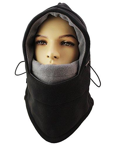 Lenikis Winter Versatile Neck Warm Fleece Ski Face Mask Balaclavas Hat Black - Cap Monkey
