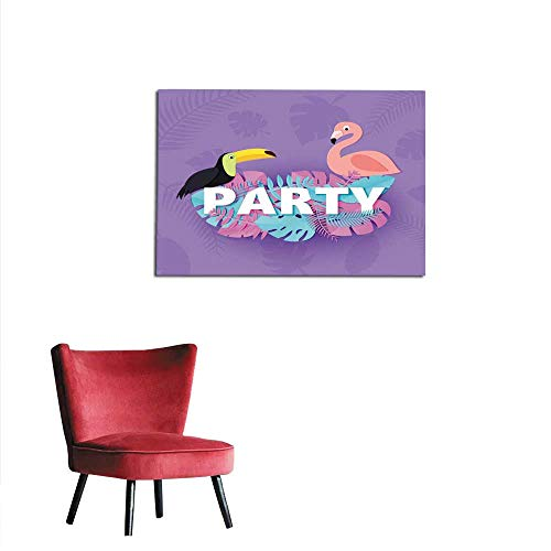 wall picture decoration Word PARTY composition with pink blue leaves toucan flamingo violet background in paper cut style Tropical birds leaf letters for design poster banner flyer T-shmural 36