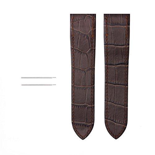 Screw + 23MM Leather Strap Alligator Band for 38MM Cartier Santos 100 Dark Brown
