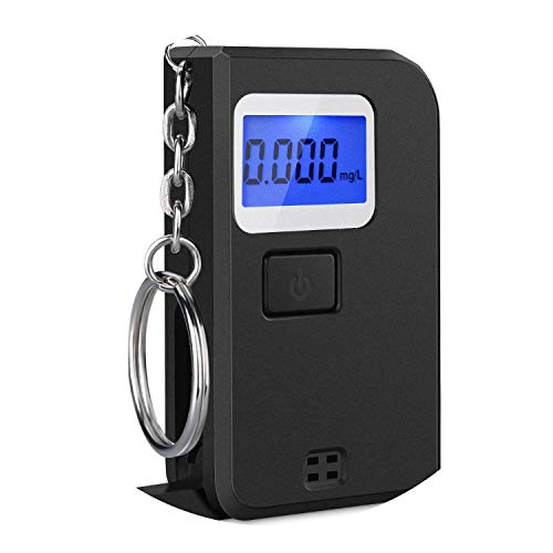 Portable Mini Keychain Breath Alcohol Tester Digital Breathalyzer with LCD Display for Drinkers Driver-Black