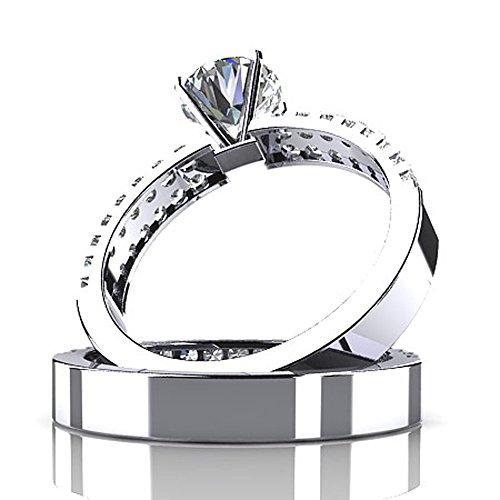 Or blanc 14K Mer des diamants de mariage Ensemble