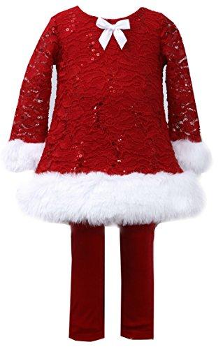Bonnie Jean Christmas Dress Little Girls Spangle Red Lace Santa Legging Set