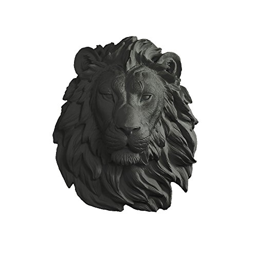Wall Charmers Lion in Black - Faux Head Bust Mounted