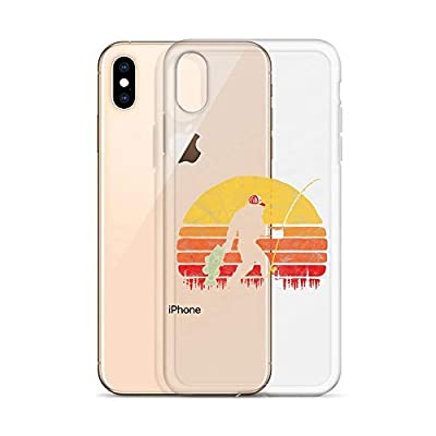 iPhone X/XS, XR, XS Max, 7/8, 7 Plus/8 Plus, 6/6s, 6 Plus/6s Plus Clear Case Cases Cover Bass Fishing Bigfoot in Trucker Hat Retro Funny Gift