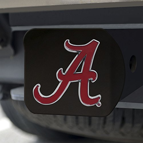 FANMATS NCAA Alabama Crimson Tide Hitch Cover with Color Emblemblack Hitch Cover with Color Emblem, Black, One Size