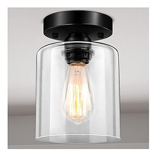 Industrial Semi Flush Mount Light Fixture, Semi Flush Ceiling Light, Vintage Ceiling Light Fixture, Farmhouse Light Fixtures Ceiling Mount, Farmhouse Lamp Ceiling, Clear Glass Shade