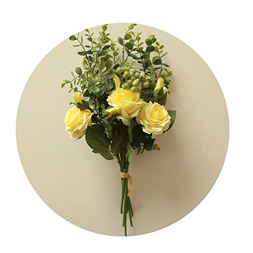 (Sevem-D Nice Bridal Rose Wedding Bouquet Bridesmaid Peony Eucalyptus Leaves Bouquets Artificial Silk)