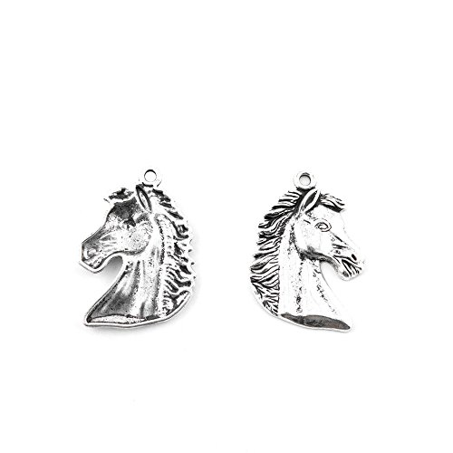 10 Pieces Antique Silver Tone Jewelry Making Charms E2DX4 Horse Head Pendant Ancient Findings Craft Supplies Bulk Lots