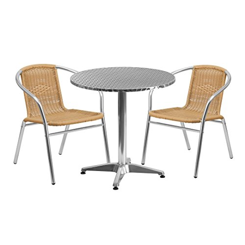 MFO 27.5'' Round Aluminum Indoor-Outdoor Table with 2 Beige Rattan Chairs