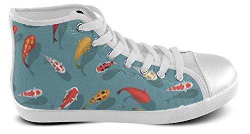 Gentleman / Hommes / Baskets Occasionnels Hommes Haut Haut Chaussures Avec Mer Sous-marine Abstrait Floral Blanc6