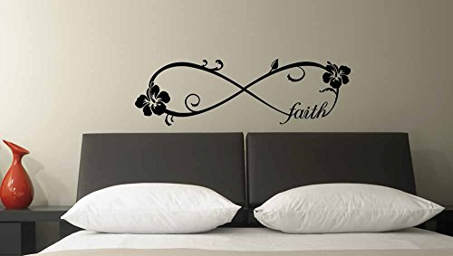 (36x11) Hibiscus Faith forever Infinite Symbol Wall Vinyl Decal Quote Art Saying inspirational lettering Flower Stencil wall decor art decal by Ideogram Designs
