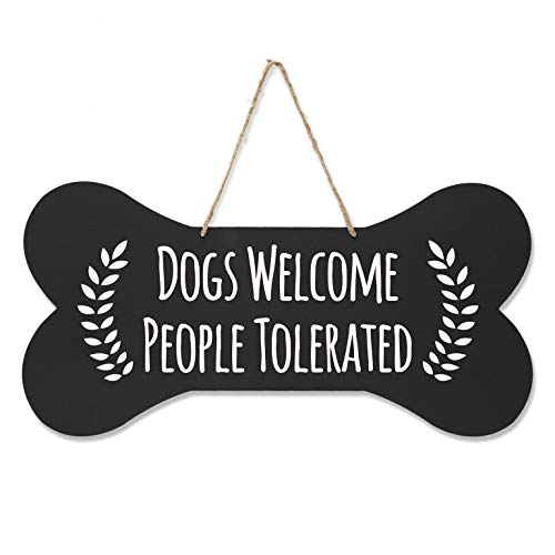 """(LifeSong Milestones Pet Quote Dog Bone Wall Hanging Sign, Dog Lovers Gifts for Women, Dog Owner Gift for Home Decor, 8"""" x 16"""" (Black Dogs)"""