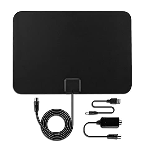 HDTV Antenna Amplified TV Indoor - Digital Smart Ultra HD TV Antenna Signal Booster Detachable USB Power 75 Miles Range 16.5 FT High Performance Coaxial Cable Upgraded Version Better Reception (Uhf To Hdmi Adaptors)