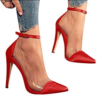 Syktkmx Womens Clear Pointed Toe Ankle Strap Stiletto Heels Thin High Heel Pumps Shoes Red Size: 6-6.5