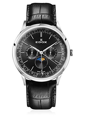 (Edox Gents-Wristwatch Les Vauberts Moon Phase Complication Complete Calendar Analog Quartz 40101 3C NIN )