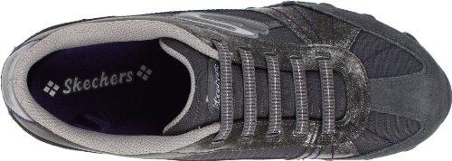 Skechers BikersVexed 22037 BLK - Zapatillas fashion de cuero para mujer Gris (Ccl)