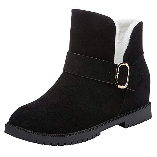 Eleganti Pelle Martin Stivali Nero Pelliccia Stivaletti Boots Donna Beautyjourney Cuoio Cunei Da Scarpe Bassi Neve Invernali p0PnRYwq