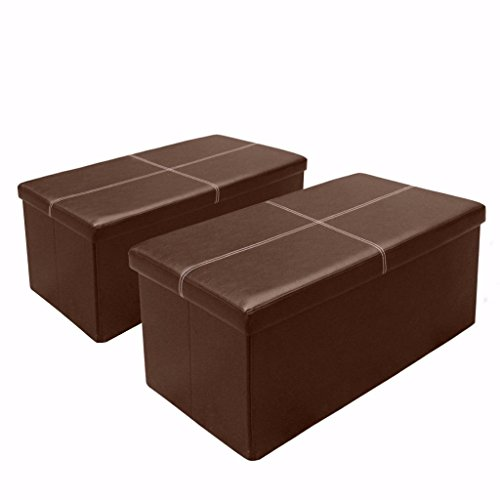 Otto Ben 2pc Set Folding Toy Box Chest with Memory Foam Seat, Faux Leather Trunk Ottomans Bench Foot Rest Stool, Line Brown