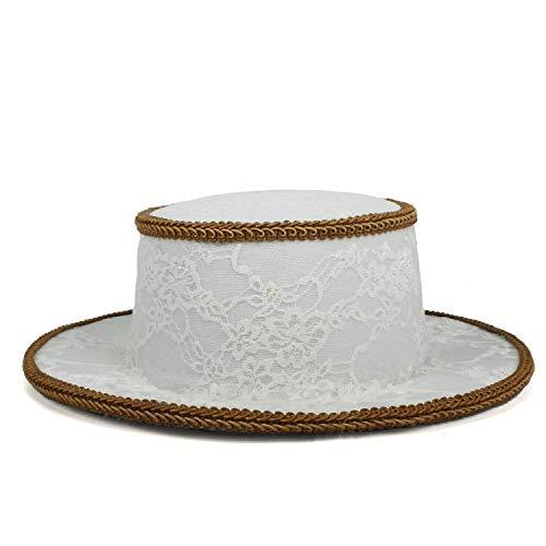 Cerdo Lady 56 Sombrero Plano 58cm Blanco Plana El Hats Blanco La Manera Oudan color Bowler Fedora Del Para De Moda Malla Blanca Borde Tamaño Jugador Empanada gqSvU