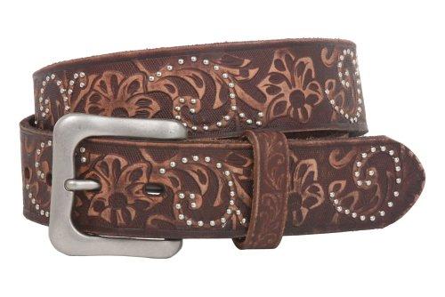 """Snap On 1 1/2"""" Vintage Cowhide Leather Floral Embossed Studded Belt Size: 34 Color: Brown"""