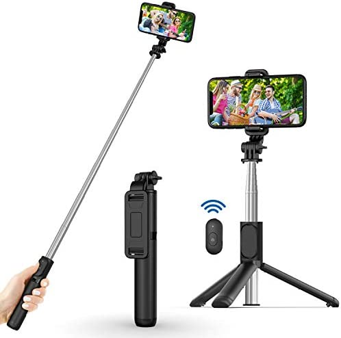 Selfie Stick, Extendable Selfie Stick with Wireless Remote and Tripod Stand, Portable, Lightweight, Compatible with iPhone 12/11/iPhone 12 PRO/iPhone XR/iPhone X/Galaxy Note 10/S20/Google/OnePlus,More