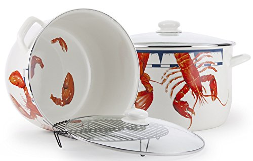 Enamelware - Lobster Pattern - 18 Quart Stock Pot