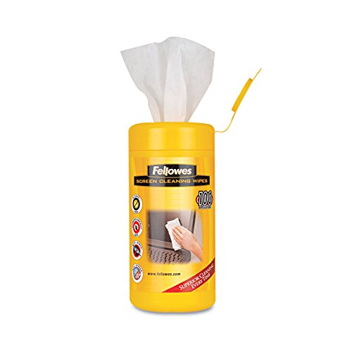 - Fellowes Screen Wipes - Streak-Free, Pre-moistened, Non-Toxic, Anti-Static, Alcohol-Free - 160 / Canister - White