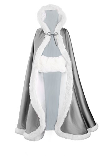 Wedding Cape Hooded Cloak for Bride Winter Reversible with Fur Trim Free Hand Muff Full Length 55'' ()