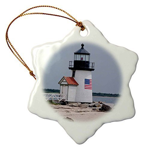 - Christmas Gifts Massachusetts Nantucket Brant Point Lighthouse Xmas Porcelain Decor Snowflake Ornament Home Decorations Hanging Crafts
