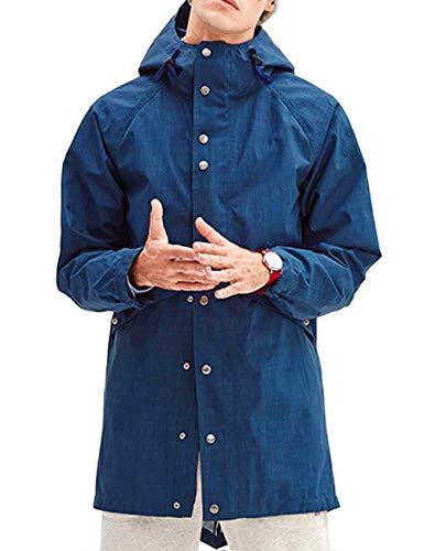 Adjustable Hood - poriff HoodRaincoat BigandTallMensWaterResistantJacket Rainproof Blue M