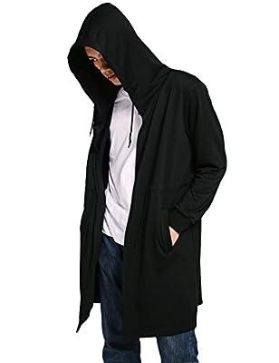 Jinidu Men's Stylish Long Length Drape Cape Cardigan Hoodie
