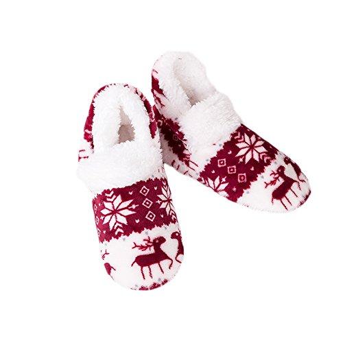 Chaud Intérieur rouge de Chaussettes en Vin Mignon Hiver Antidérapant Peluche Pantoufles Femme Noël Motif Souple Maison Chaussons Wenyujh w6qxIBn