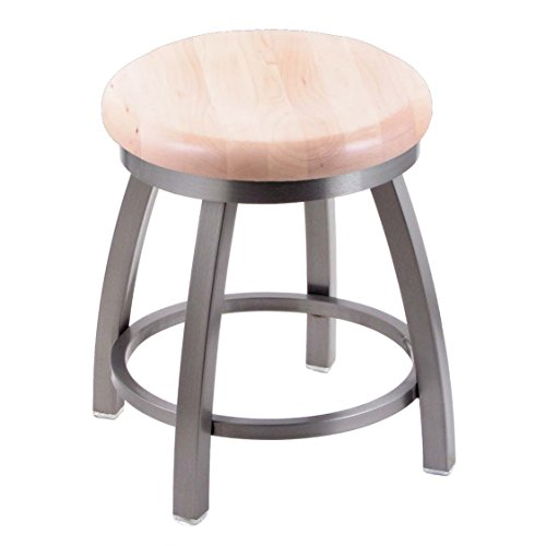 (Holland Bar Stool Co. 802 Misha Vanity Stool with Stainless Finish and Swivel Seat, 18