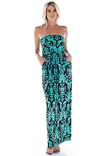 Betsy Red Couture Women's And Plus Size Ruched Strapless Soft Knit Maxi Dress (L, Black/Green - Romper Jersey Embroidered